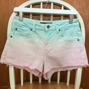 Pink & Blue Ombré-dyed High Waisted Shorts